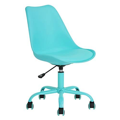 Bürostuhl Ohne Armlehne, Schreibtischstuhl mit Kunstlederbezug, Höhenverstellbarer Bürostuhl mit Laufrollen, Blau