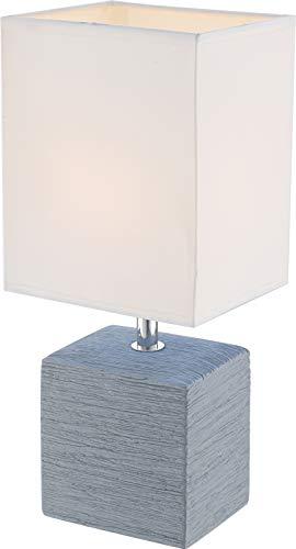 Lámpara para mesita de noche con pantalla de tela blanca, pantalla decorativa (lámpara de mesita de noche, lámpara de mesa, altura 29 cm, base de cerámica gris)