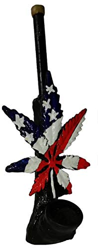 Handmade Weed Leaf Shaped Novelty Collectible Hand Pipe (US Flag)