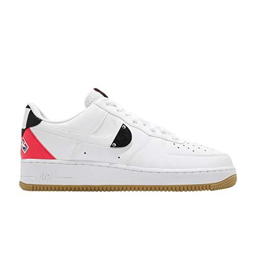 Nike Zapatos de Hombre Air Force 1 '07 LV8 Blanco Brillante Crimson CT2298-101, (blanco/carmesí brillante/negro/blanco.), 47.5 EU