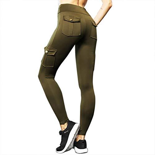 Huaheng Vrouwen Elastische Yoga Leggings Bamboe Vezel Sport Hips Up Lange Broek met Zakken S Leger Groen