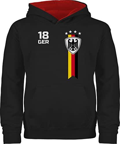 Fussball WM 2022 Fanartikel Kinder - EM Fan-Shirt Deutschland - 128 (7/8 Jahre) - Schwarz/Rot - fussballtrikot Kinder Deutschland - JH003K - Kinder Kontrast Hoodie