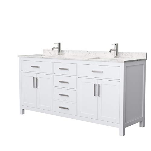 Beckett 72 Inch Double Bathroom Vanity in White, Carrara Cultured Marble Countertop, Undermount Square Sinks, No Mirror