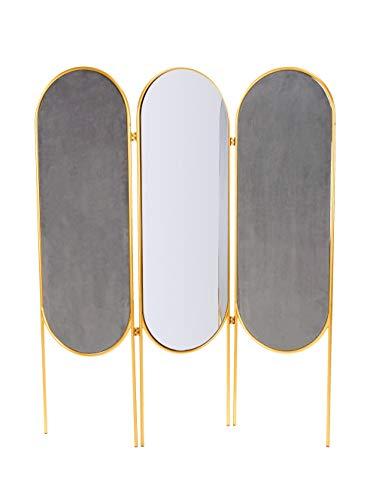 IMPRESSIONEN living Unisex Paravent, zweifarbig, mit Spiegel grau/blau/goldfarben