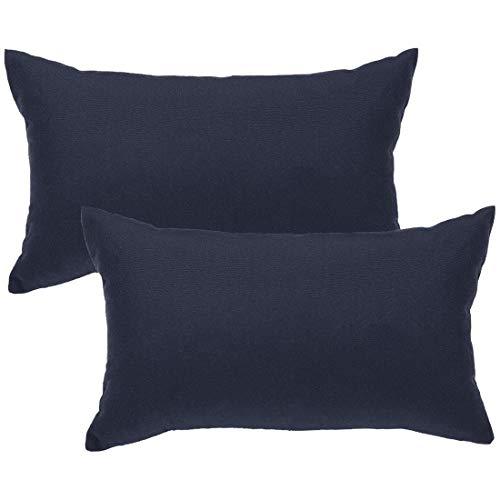 N/D – Lote de 2 fundas de cojín lombario azul, conjunto de fundas de cojín rectangular decorativas, funda de almohada firme, para sofá, silla de coche, 30 x 50 cm