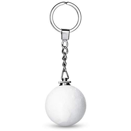 Draagbare 3D Unieke maanvorm decoratie Sleutelhanger Nachtlampje - Wit Wit Licht Wit 4cm