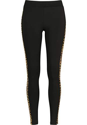 Urban Classics Ladies Side Striped Pattern Leggings, Multicolor (Blk/Leo 01722), 40 (Talla del Fabricante: Medium) para Mujer