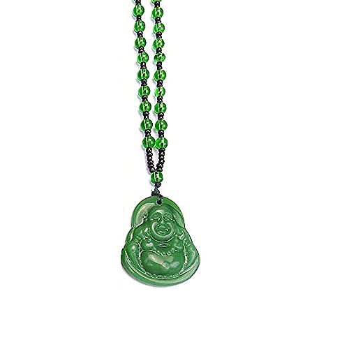 Buddha CZ Gold Chain Pendant Blue Green Jade Buddha Necklace Gold Color Link Chain Crystal Amulet Necklace for Women Men Jewelry-Green beads