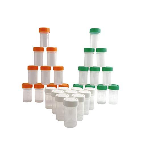 KENZIUM - Set de 30 Frascos Graduados de Laboratorio, para Muestras de 50 ml   de Cuello Ancho, de Plástico, Con Tapas Multicolor de Rosca, Contenedores de Recogida, Color Naranja, Blanco y Verde