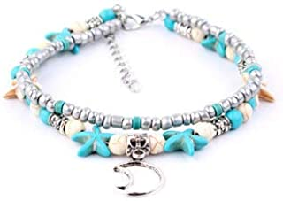 Women Jewelry Anklets - Conch Beads Yoga Anklet Beach Turtle Pendant Moon Heart Pearl Crystal Beads - #2