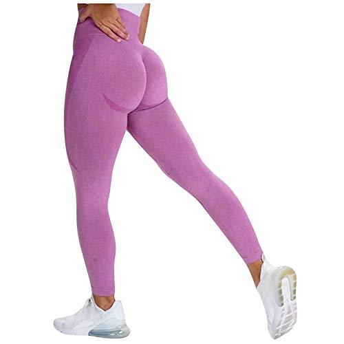 ReooLy Women Seamless Butt Lifting Scrunch Running Tight Workout Leggings Activewear High Waist Yoga Pants(Red,Medium)