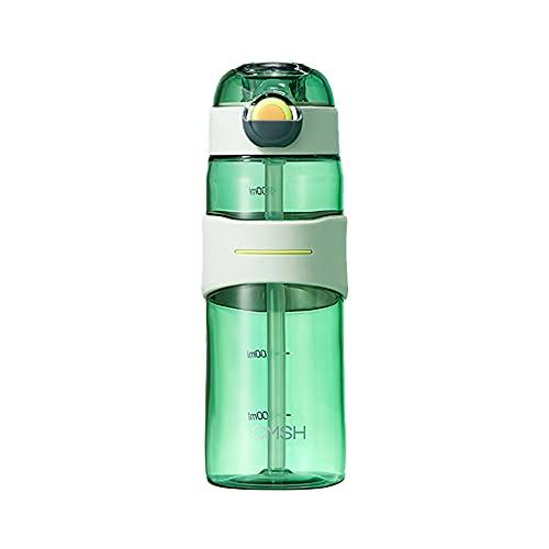 Wenxu Botella de agua de 520 ml, taza de agua deportiva portátil, taza espacial de gran capacidad con báscula, botella de bebida segura a prueba de fugas, taza deportiva para fitness