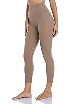 """HeyNuts Hawthorn Athletic Yoga Leggings for Women Buttery Soft Workout Pants Compression 7/8 Length Leggings with Pockets Carbon Dust_25"""" M 8/10"""