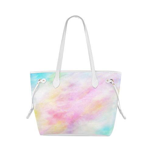 LONGYUU Coole Umhängetasche Abstrakt Seidig In Rosa Und Blau Pastell Designer Handtasche Damenhandtasche Große Kapazität Wasserdicht Mit Langlebigem Griff
