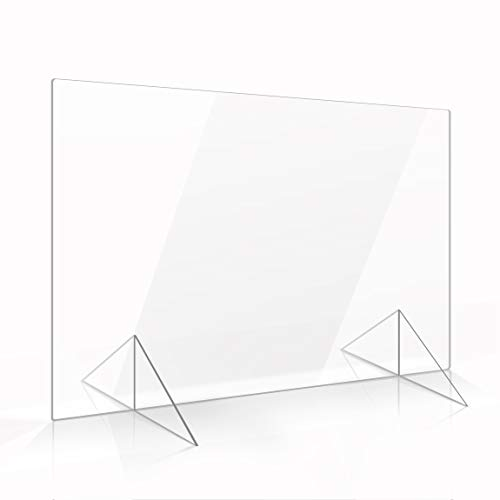 Apalis Spuckschutz Plexiglas Aufsteller 60cm x 90cm x 3mm ohne Durchreiche Tischaufsatz glasklar