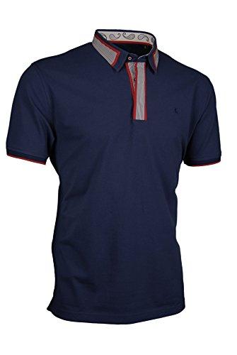 Premium-Poloshirt von Giorgio Capone, einzigartiger Hemdkragen, Pique-Stoff 100% Baumwolle, navy-blau, Regular Fit (M)
