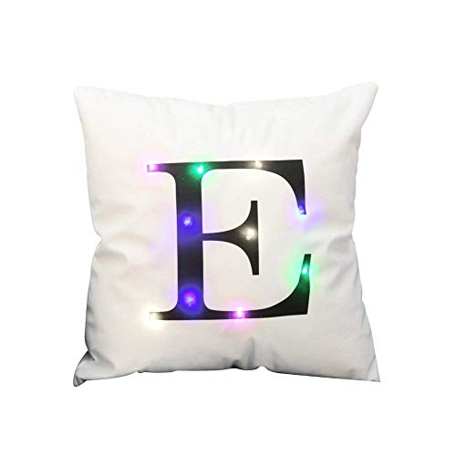 """ZUODU Creative LED Colorful Flashing Velvet Letter Cushion Cover Pillow Cover Bar Use Party Use Festival Use Gift Use18""""x18"""" or 45cm x 45cm 1pc (E)"""