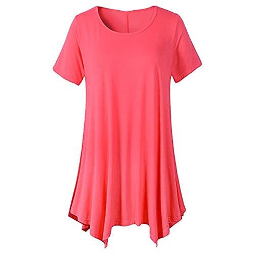 Camiseta de Manga Corta de Longitud Media Simple de Talla Grande para Mujer, Camisa Holgada de Cuello Redondo y Color sólido
