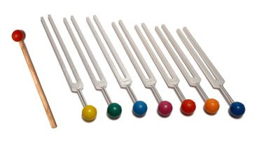 Chakra Tuning Fork Set with Color Balls, Pouch and Mallet
