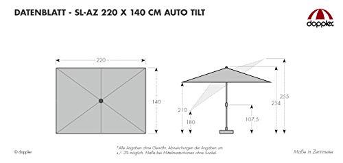 doppler Aluminium Sonnenschirm SL-AZ 220x140 - Rechteckiger Kurbelschirm - Modernes Design - Starker UV-Schutz - 220x140 cm - Natur