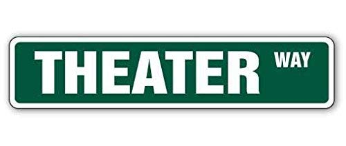 New Plastic Road Sign Great Theater Street Sign Movie Home Theatre theaters Actor for Outdoor & Indoor 3x9 Inch