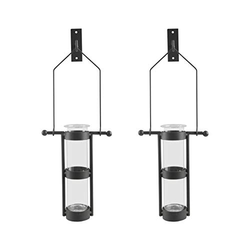 Danya B. QB102-2 Modern Home Dcor - Wall Mount Hanging Glass Cylinder Vase Set with Metal Cradle and Hook