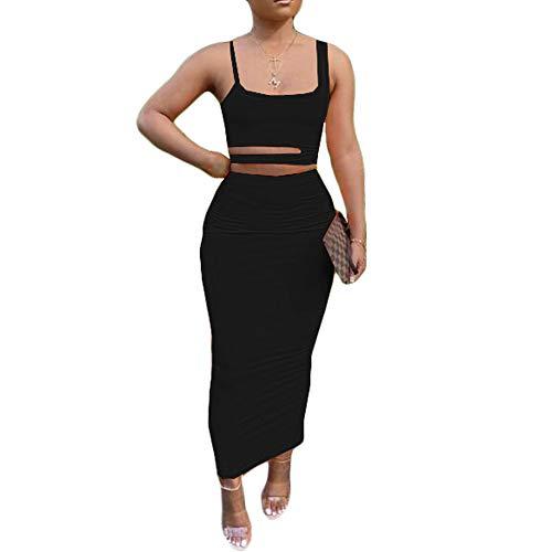 NTOW Vestido De Verano Color Sólido Sin Mangas Cuello Bajo Recortado Traje De Falda para El Hogar Vestidos Casuales