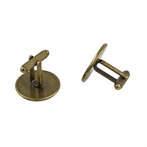 Hellery 6pcs Vintage Round Blank Tray Manschettenknöpfe Einstellungen DIY Cabochon Schmuckzubehör - Bronze