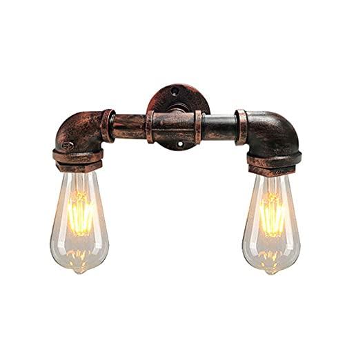 Lampara Pared,Aplique de pared de tubería de agua oxidada Lámpara de pared de metal de hierro doble Vintage Edison Retro Steampunk Iluminación de pared de tubería de agua Aplique de pared Use