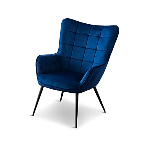 VERA VELVET OCCASIONAL LIVING ROOM BEDROOM MODERN METAL LEGS ACCENT CHAR ARMCHAIR BLUE