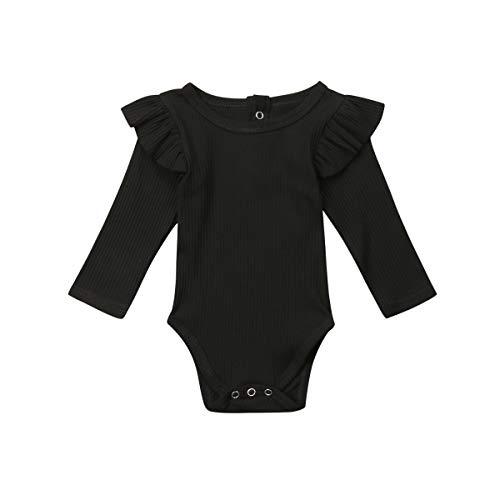 Baby Unisex Romper Body Bebé Recién Nacido Mameluco de Manga Larga para Niño Niña Pequeños 0-2 Años Mono de Algodón de Color Sólido Ropa de Una Pieza con Volantes y Botones (Negro, 18-24 Meses)