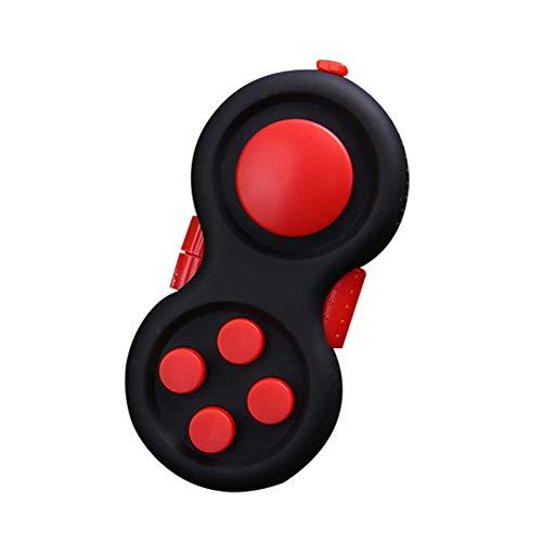 Apofly Fidget Controller Pad-Druck-Helfer Cube Spiel Griff Toy Anti Angst Depression Spielzeug für ADHS Autismus Erwachsene und Kinder (Schwarz/Rot)