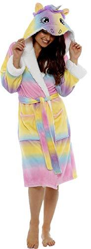 i-Smalls Frauen Ultra weiche warme gemütliche Einhorn Lange Morgenmantel mit lila Augenmaske (Einhorn) 16-18