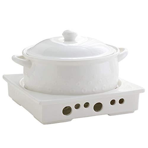 WJHCDDA Plato de cazuela de Buffet, Chafer de cerámica con candelabro, Juego de Calentador de Catering, Mantiene Las calorías de los Alimentos, para almuerzos de Fiesta, Eventos de Catering, Sopa de