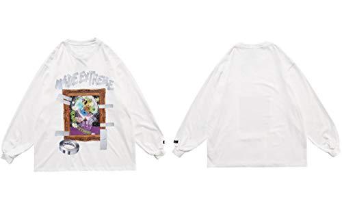 HSDFKD Peinture 3D Cadre Photo Imprimer T-Shirts À Manches Longues Hip Hop Lâche Steetwear T-Shirts Chemises Tops, Blanc, L