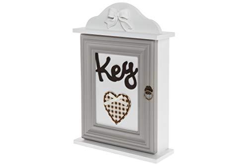 elbmöbel Schlüsselkasten Holz weiß mit Deko Schriftzug Key Schlüsselbrett Vintage Schlüsselschrank Magnet Metall-Haken H33 x B22 x T7 cm (weiß-grau Textil-Herz, H33 x B22 x T7cm)