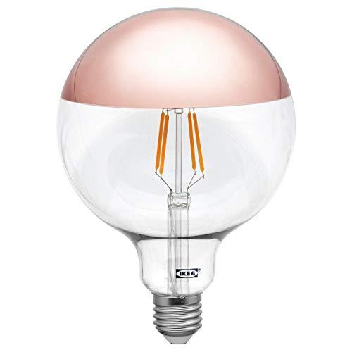 IKEA SILLBO - Bombilla de globo con filamento LED E27, 370 lúmenes, 125 mm, con parte superior espejada, color oro rosa