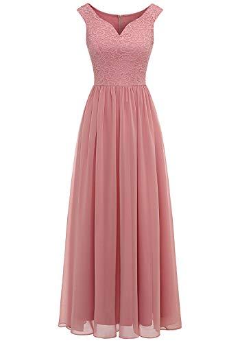 Aupuls 0070 Elegant Abendkleid Spitzen Maxi Chiffonkleid V-Ausschnitt Bodenlang Kleid Blush XL