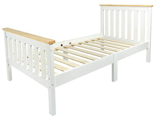 Leomark Individual Cama Infantil de Madera - MILANO PINE - con Somier, para niños, color blanco, moderno y elegante Mobiliario Pino, Espacio para dormir: 70x140 cm