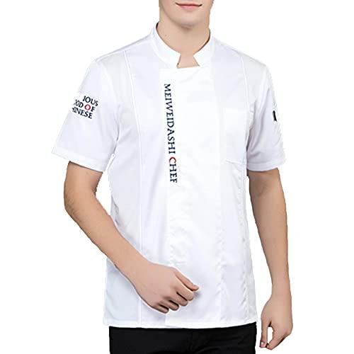 QWA Manga Corta Chaqueta de Chef Unisexo Collar del Soporte Blanco Chaquetas de Chef Algodón Respirable Cocina Uniforme Ropa de Trabajo Verano Hotel Trabaja Camisetas (Color : White, Size : C(XL))