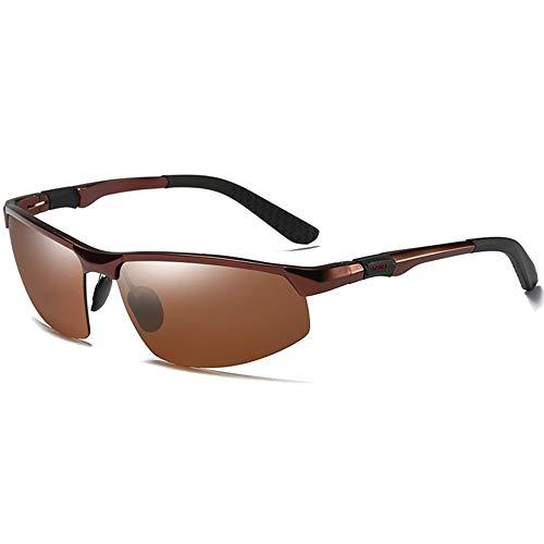 QCSMegy Gafas de sol para hombre, ciclismo, deportes, aluminio, magnesio, polarizadas, rojo, marrón, para conducir, color marrón