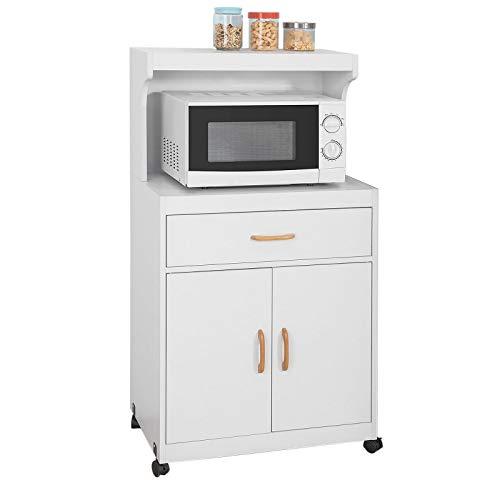 SoBuy® FSB12-W Mikrowellenschrank mit Rollen Küchenschrank Küchenwagen Getränkewagen mit 2 Ablagen, 2 Türen und 1 Schublade, weiß BHT ca.: 62x119x40cm