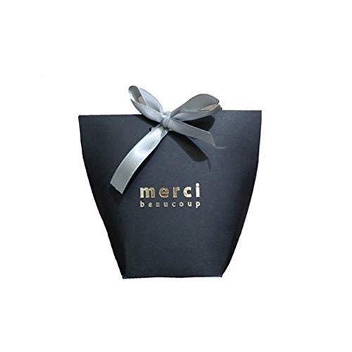 Beito 5Pcs Exquisite Papier Geschenk-Taschen Cotton Sortiment Papier Favor Goody Taschen Party-Baby-Dusche Kinder Geburtstage Hochzeiten (Schwarz)