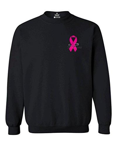 shop4ever Pink Breast Cancer Ribbon Pin Crewneck Sweatshirts X-Large Black 18462