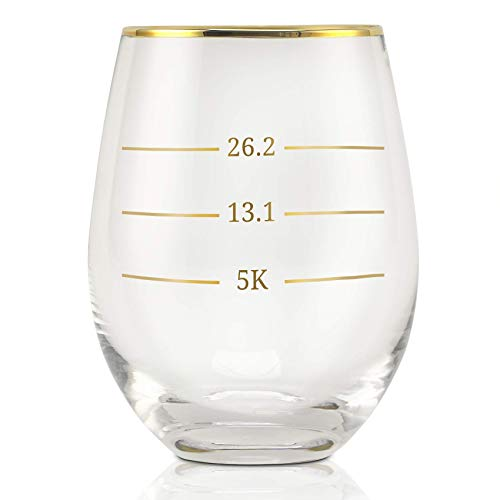 Onebttl Funny Wine Glasses with Sayings, Cute Wine Cup for Red or White Wine - 18oz - Runner Gifts for Women, Men, Friends - for Birthday, Christmas - for Marathon Lovers