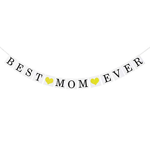 Best Mom Ever Banner with Gold Glitter Heart | Vintage Mothers Day Decorations | Mother's Day...