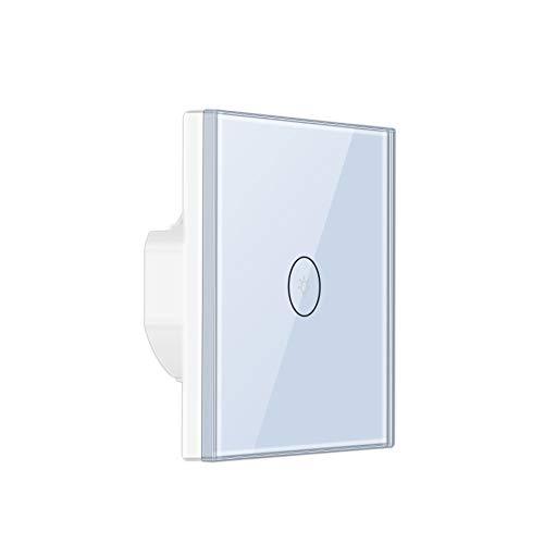APSJ - Interruptor de luz inalámbrico con WiFi y pantalla táctil y luz LED estándar UE, compatible con Alexa o Google Home (color blanco)