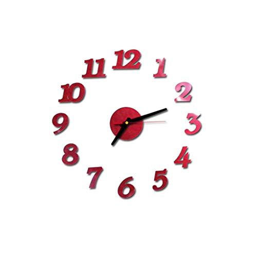 3D DIY Roman Numbers Acrylic Mirror Wall Sticker Clock Home Decor Mural Decals, Clock for Halloween Home Decoration (Red)