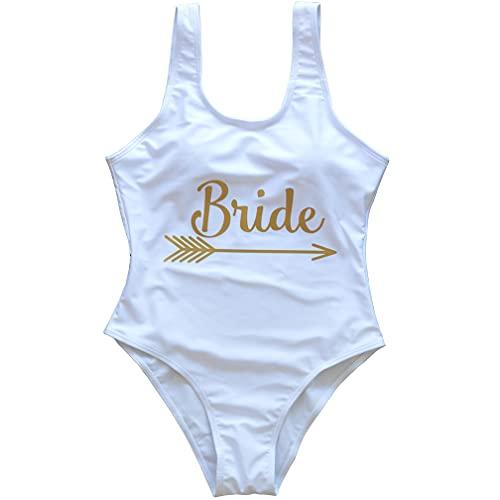 Einteiliger Damen-Badeanzug im Vintage-Stil, Push-Up-Oberteil mit herausnehmbarem Polster für Brautpartys oder als Geschenk - - Small