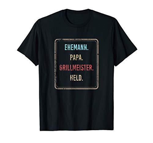 Herren Ehemann Papa Grillmeister Held Vintage Papa Design Grill T-Shirt